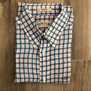 Orvis Sz Large 100% Linen Lavender Blue Shirt